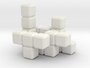 Tetris Blocks in White Natural Versatile Plastic