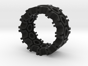 Hexagon Ring in Black Strong & Flexible