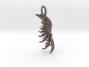 Wing Pendant : Fractal wing design in metal in Polished Bronzed Silver Steel
