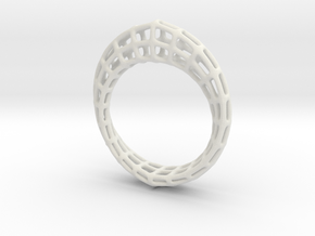 Wireframe  Mobius Strip in White Natural Versatile Plastic