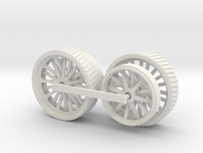 1000-1 Fowler Plough Engine Wheels 1:87 in White Natural Versatile Plastic