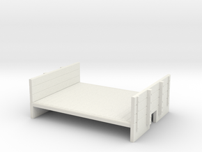 OO9 flat wagon with ends (short) in White Natural Versatile Plastic