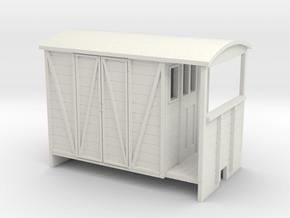OO9 Brake van with paneled door in White Strong & Flexible