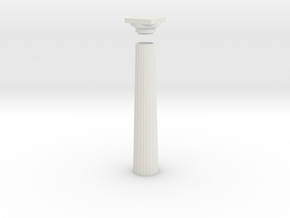17.5cm Doric Column - hollow core - flat plinth an in White Natural Versatile Plastic