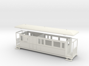 OO9 Tramway bogie brake coach in White Strong & Flexible