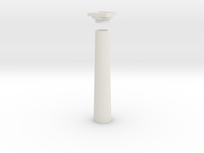 17.5cm Doric Column - hollow core - Hollow plinth  in White Natural Versatile Plastic