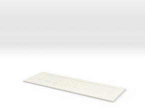 by kelecrea, engraved: Justin in White Natural Versatile Plastic