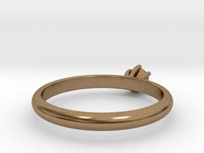 Diamond ring in Natural Brass