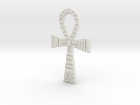Egyptian Ankh Pendant in White Natural Versatile Plastic