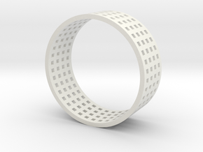 Grid ring in White Natural Versatile Plastic