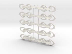 Mobius Strip Earrings - 5 pairs in White Natural Versatile Plastic