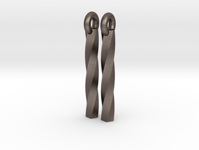 twist earrings in Polished Bronzed Silver Steel