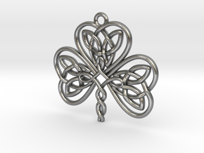 Shamrock Knot Pendant 1.25 Inch in Natural Silver