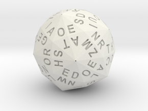 d120 Alphabet Dice in White Natural Versatile Plastic