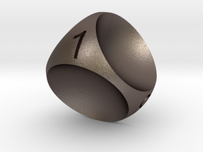 D4 Concave Dice in Polished Bronzed Silver Steel