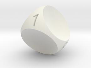 D4 Concave Dice in White Natural Versatile Plastic