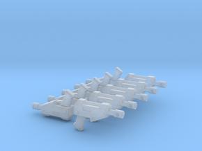 10 Miniature Pistols  in Smooth Fine Detail Plastic