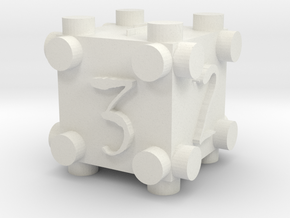 Suspended Die 2 in White Natural Versatile Plastic