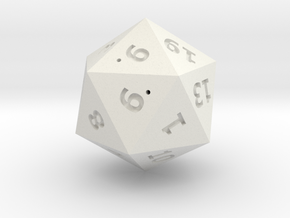 hollow d20 25mm in White Natural Versatile Plastic