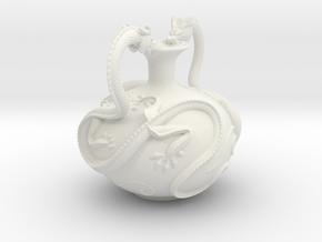 Twin Dragon Vase in White Strong & Flexible