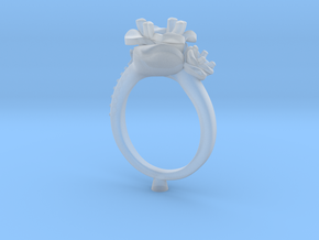 CD266- Flower Engagement Ring 3D Printed Wax . in Smooth Fine Detail Plastic