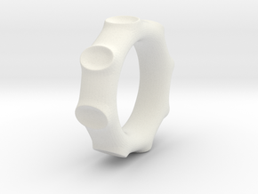 Moon Crater ring in White Natural Versatile Plastic