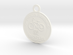 Broken Arrow Bicycles Medallion in White Processed Versatile Plastic