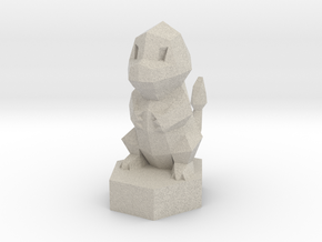 Low-poly Charmander On Stand in Natural Sandstone