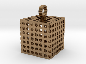 Perforated Cube Pendant  in Natural Brass