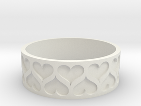 Heart bracelet (Large 80mm) in White Natural Versatile Plastic