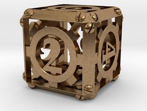 Steampunk d6 in Natural Brass