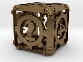 Steampunk d6 in Natural Bronze