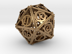 Steampunk d20 in Natural Brass
