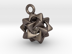 Compound of Five Rounded Tetrahedra Pendant in Polished Bronzed Silver Steel