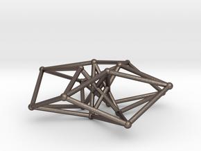 Sacred Geometry: Toroidal Hypercube 50mmx1.5mm  in Polished Bronzed Silver Steel