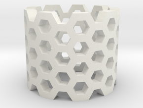 Honeycomb Ring in White Natural Versatile Plastic