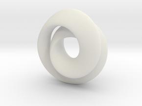 Hourglass - double mobius - small in White Natural Versatile Plastic
