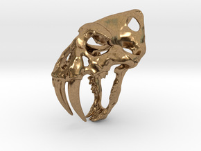 saber tooth keychain in Natural Brass