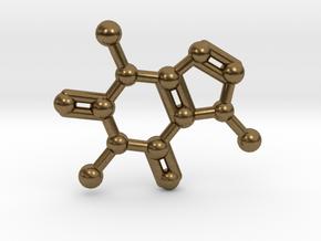 Caffeine Molecule Necklace Keychain in Raw Bronze