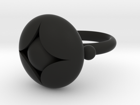 Ellipse Flower Ring #2 @ 20 mm with berries in Black Strong & Flexible
