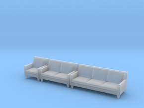 1:48 Contemporary Living Room Set in Smooth Fine Detail Plastic