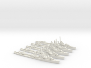 USS Monaghan (Farragut class) 1:1800 x5 in White Natural Versatile Plastic