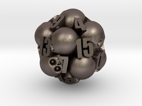 Ossuary d20 in Polished Bronzed Silver Steel