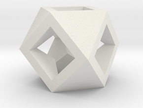 Cuboctahedron - Square Drilled in White Natural Versatile Plastic