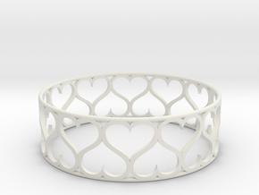 Heart Bracelet in White Natural Versatile Plastic