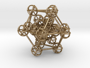 Metatron's Hypercube Variation 60mm 1.5mm  in Polished Gold Steel