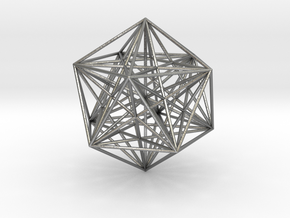 Sacred Geometry: Icosahedron with Stellated Dodeca in Natural Silver