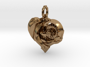 Inner workings Mech-Organic Heart in Raw Brass