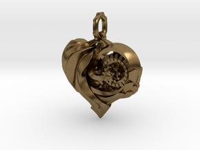 Inner workings Mech-Organic Heart in Raw Bronze