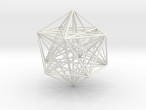 Sacred Geometry: Icosahedron with Stellated Dodeca in White Strong & Flexible